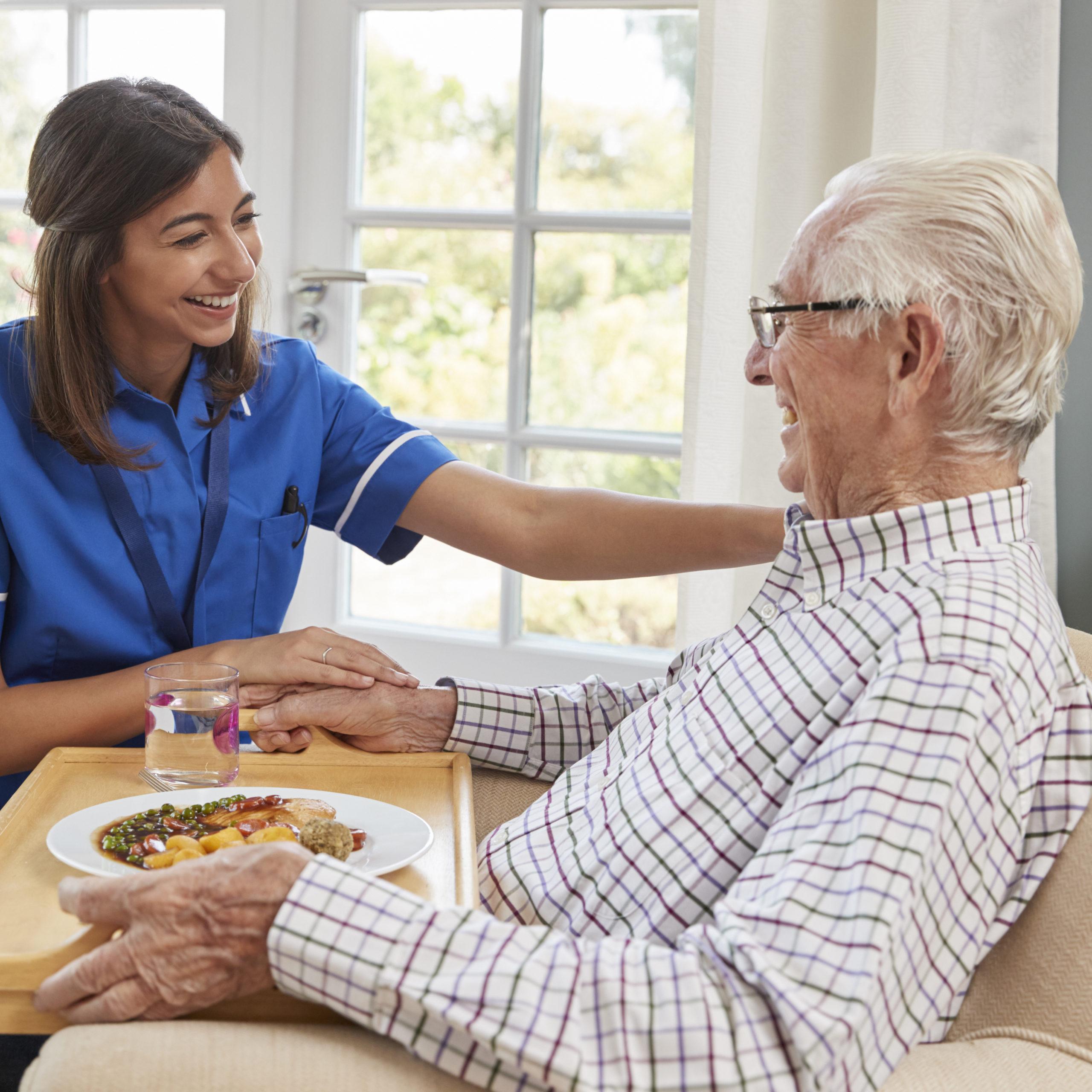 Nurse serving dinner to a senior man in an armchair at home